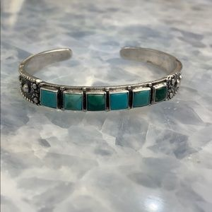 Blue Silver Stone Cuffed Bracelet